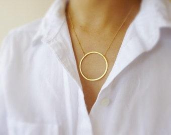 Large Gold Circle Necklace,Large Circle Necklace,Gold Karma Necklace,Big Circle Necklace,Eternity Necklace,large Silver Circle Necklace