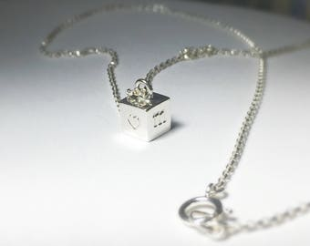 4 sided bar necklace,gold cube necklace,double sided initial bar necklace,cube necklace,custom cube necklace,small cube necklace,Momentusny