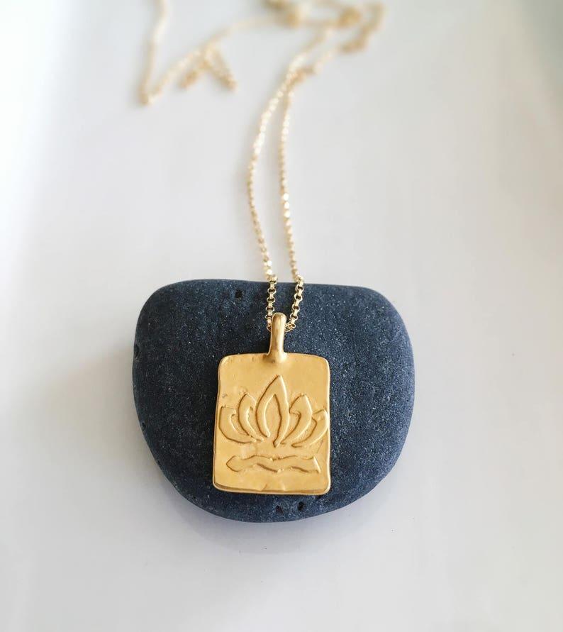 Gold Lotus Necklace Lotus Necklace Lotus Flower Necklace Etsy