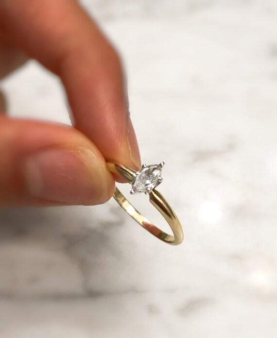 Vintage 14K Gold Solitaire Diamond Ring, Vintage … - image 9