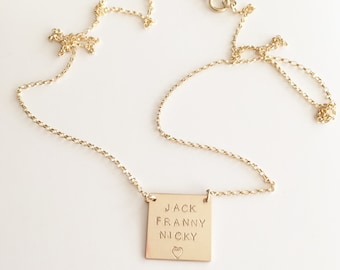 Custom Hand Stamped Necklace,Square Necklace,Personalized Mothers Necklace,Family Name Necklace,Gift For Her,Gold Name Plate Necklace