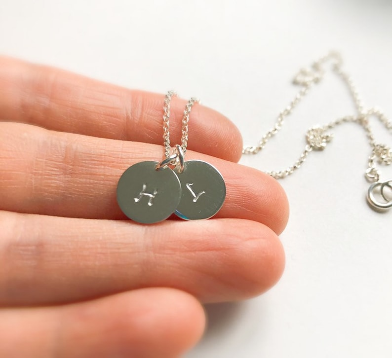 Small Disc Necklace Sterling Silver Initial Disc Necklace Mother/'s Necklace Dainty Initial Charm Necklace Personalized Jewelry for Mom