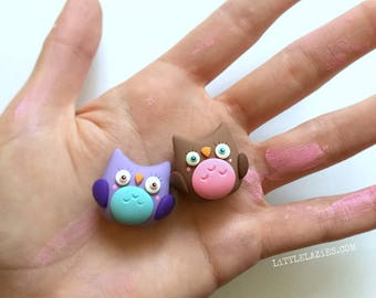 1 Little Owlet | Little Lazies | 1 Miniature Polymer Clay Sculpture, Totem, Animal | Handmade | Thank You!