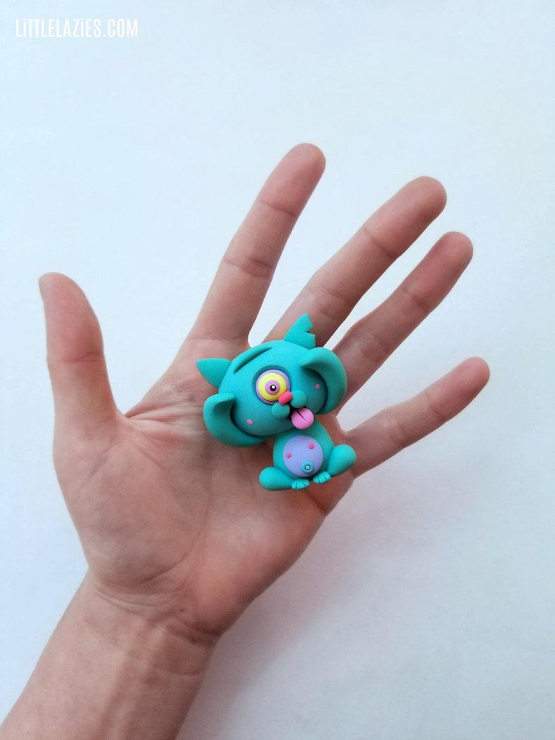 Random CYKITTY LittleLazies  1 Miniature Monster Polymer Clay image 0