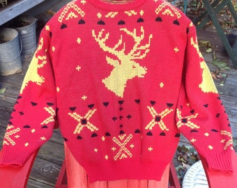 dc5586448b64 VINTAGE REINDEER SWEATER 80's Knit Holday Ugly Christmas Party