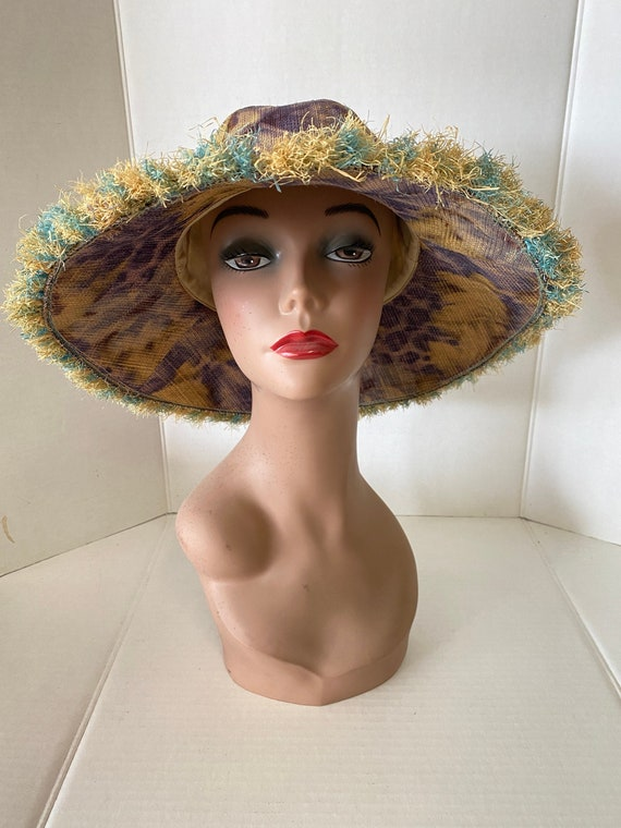 Beautiful STRAW Wide BRIMMED Vintage HAT Summer B… - image 3
