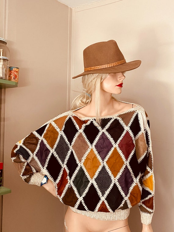 80's LEATHER Diamond PATCHWORK SWEATER Vintage