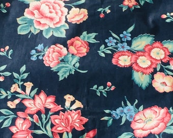 4 Yds Vintage 80's CHINTZ FABRIC Blue FLORAL Cotton Upholstery