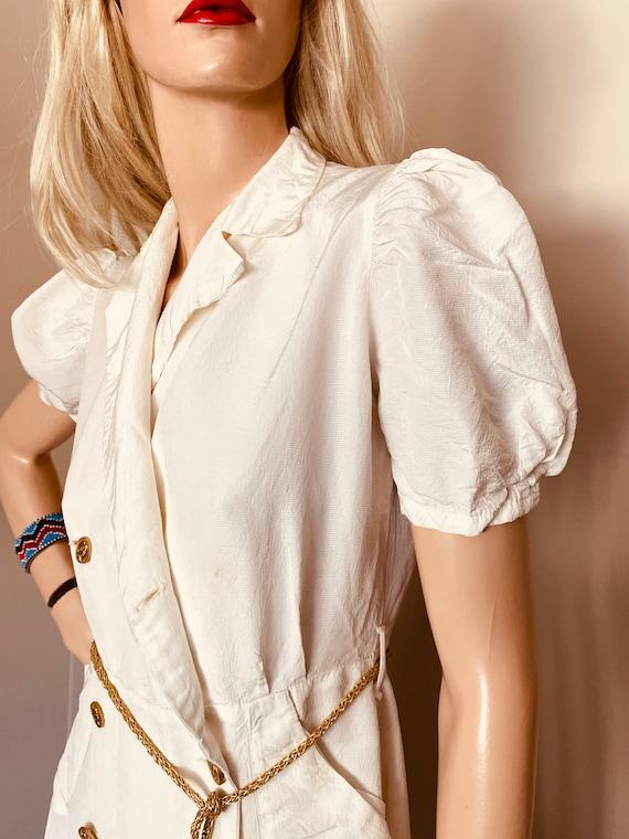 Beautiful VINTAGE 1930s DRESS Creme CREPE Ankle l… - image 4