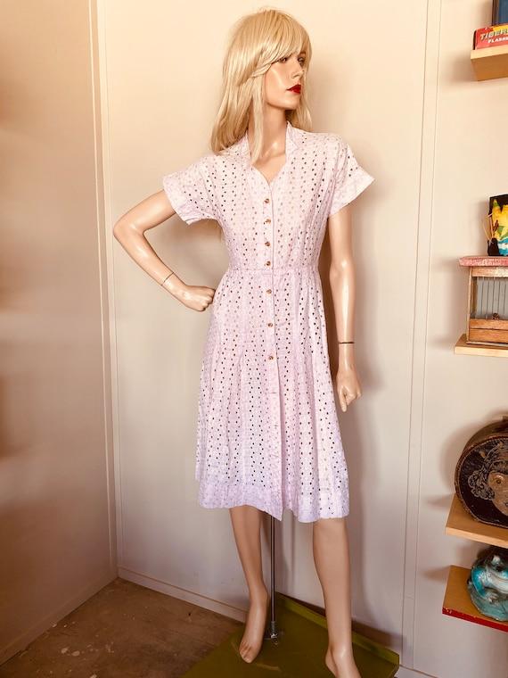 Vintage Pink EYELET DRESS 1950's COTTON