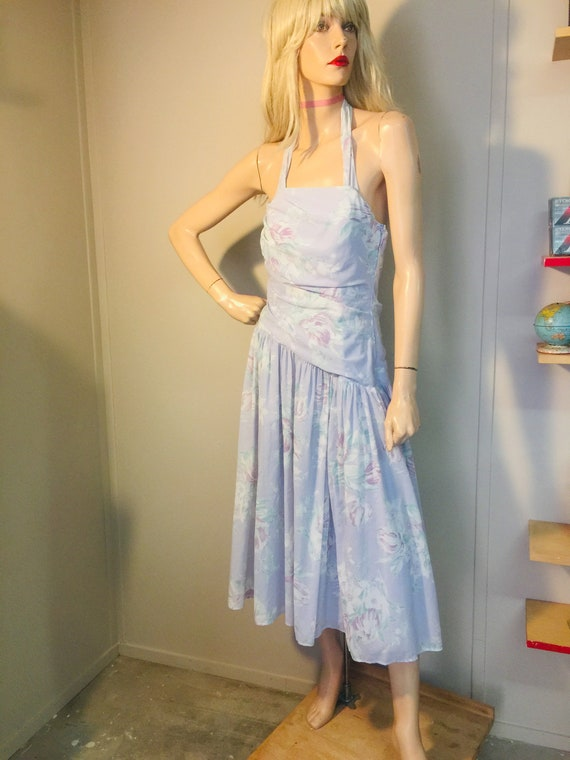 1980s LAURA ASHLEY DRESS Cotton Floral Halter Rouc