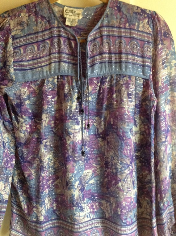 1970s INDIA PEASANT BLOUSE Hippie Sheer Fabric