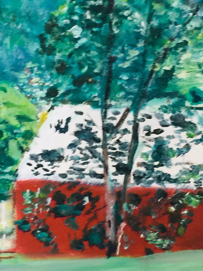 Vintage Catskills ReD BARN 1968 LandSCAPE PAINTING Trees ...