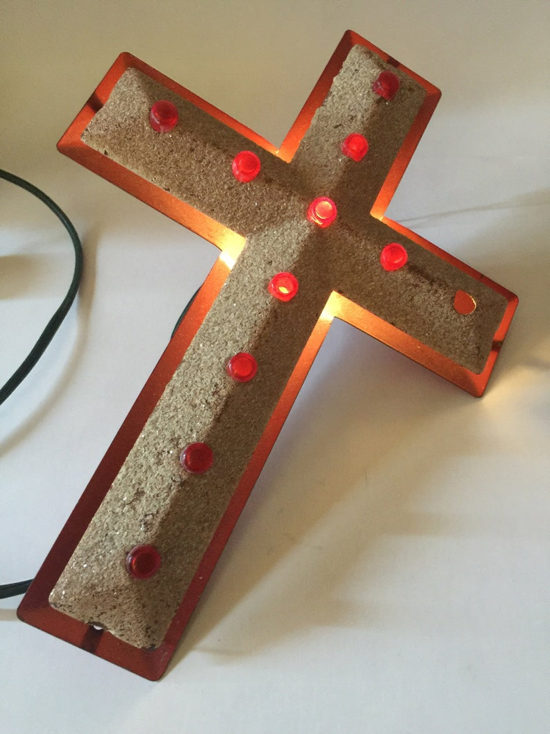 222b027a83 Vintage LIGHT Up CROSS Tree TOP Metal 1940 s