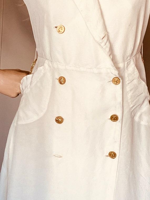 Beautiful VINTAGE 1930s DRESS Creme CREPE Ankle l… - image 8