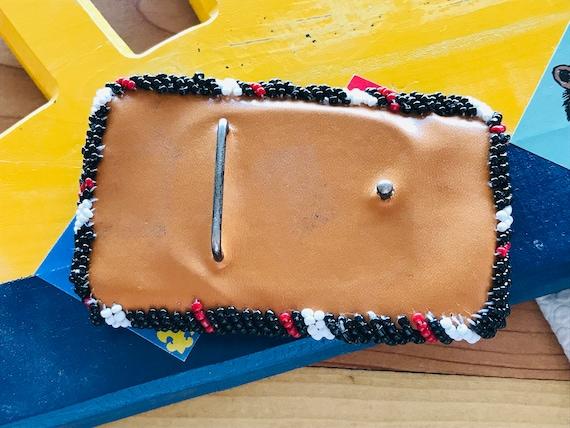 Vintage 1950s BEADED Belt BUCKLE INDIAN 1950s Sou… - image 6