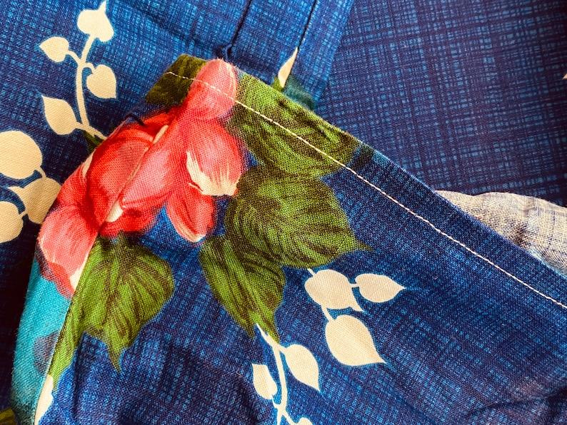 Vintage 3 Yds FABRIC ROSE PRINT Cotton 1970\u2019s Hawaiian