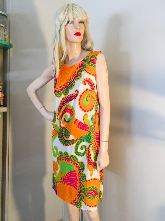 Vintage 60s PSYCHEDELIC Print 70s DRESS Go Go Girl
