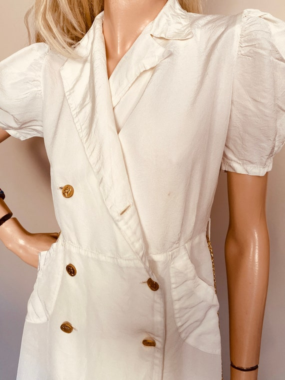Beautiful VINTAGE 1930s DRESS Creme CREPE Ankle l… - image 6
