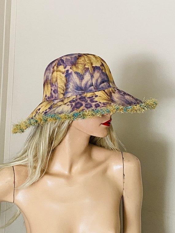 Beautiful STRAW Wide BRIMMED Vintage HAT Summer B… - image 5