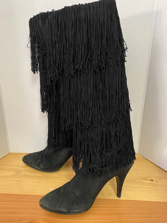 Gorgeous FRINGED BOOTS 80's HIGH Heels Vintage Go-