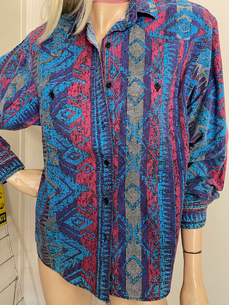 Vintage FRONTIER Shirt COWGIRL 1980/'s SOUTHWESTERN Cowboy Western Wear