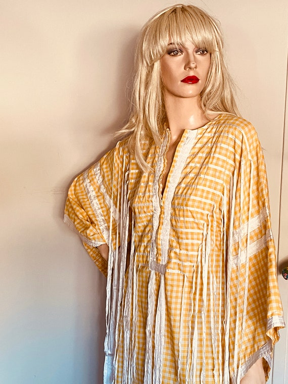 Gorgeous 70s VINTAGE FRINGED KAFTAN Maxi Dress Gow