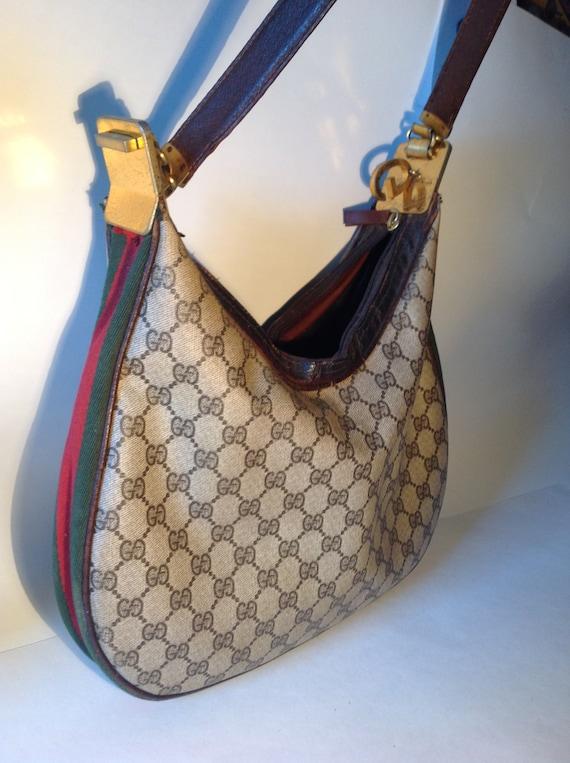 33396b9cd7 Sale 70's Vintage GUCCI Logo SHOULDER Bag GG Designer | Etsy