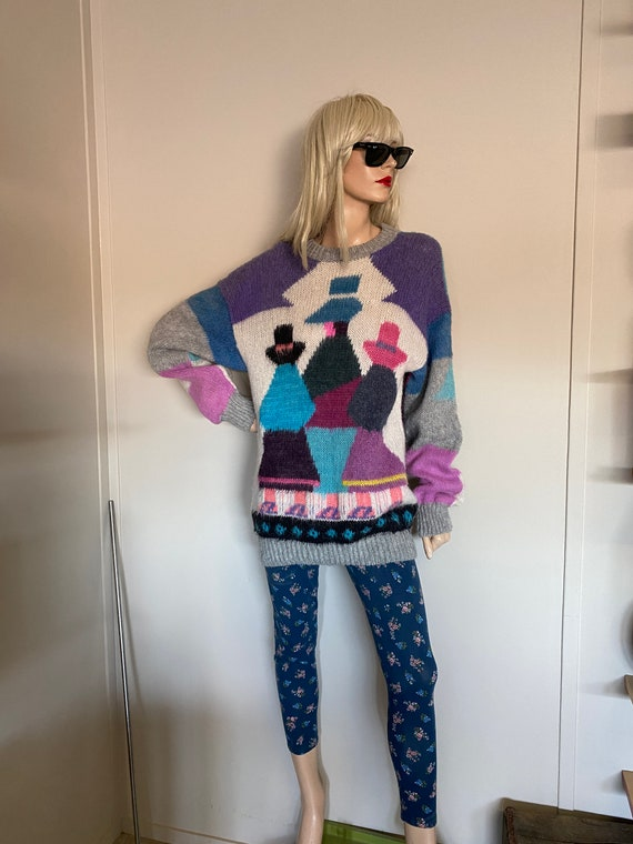 Awesome 80s MOHAIR SWEATER DRESS Mexican