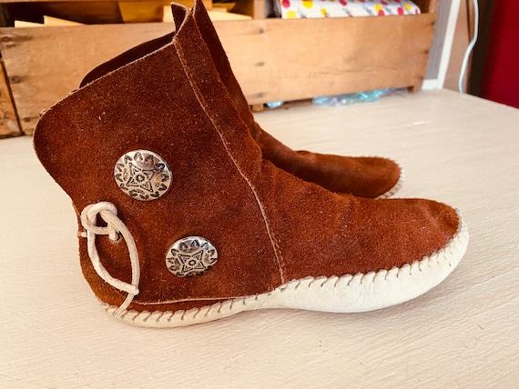 70s SUEDE MOCCASIN BOOTIES Ankle Boots