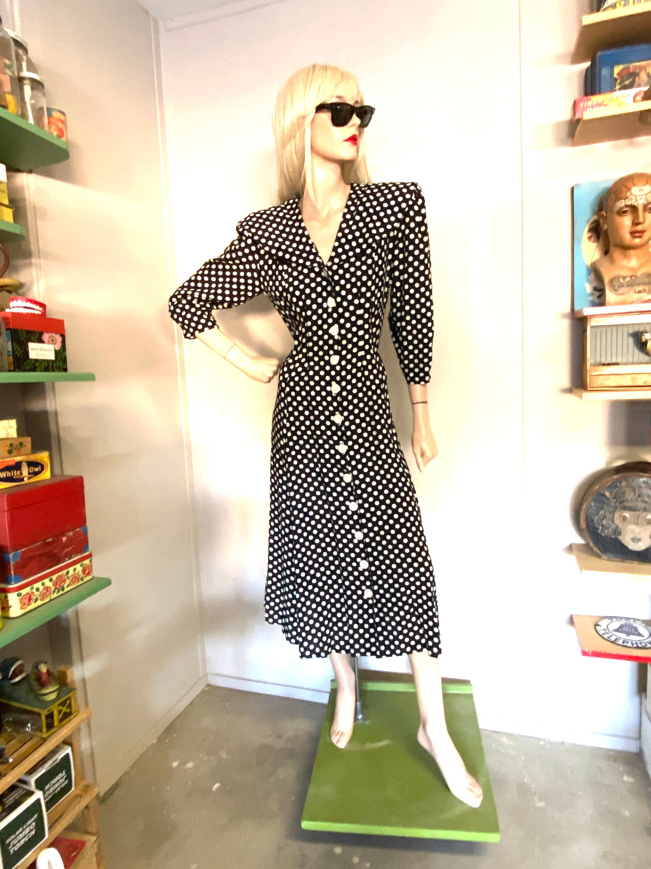 80s Dresses   Casual to Party Dresses 1980S Power Dress Polka Dot Buttons Shoulders $35.00 AT vintagedancer.com