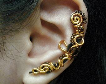 Burnt Amber Ear Cuff - No piercing needed Steampunk Piece