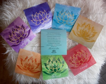Chakra Art | I Am Set of 7 Chakra Prints with Lotus design | Chakra Prints