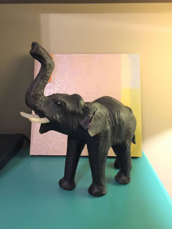 Vintage Leather Wrapped Elephant Art Decor Leather Elephant Etsy