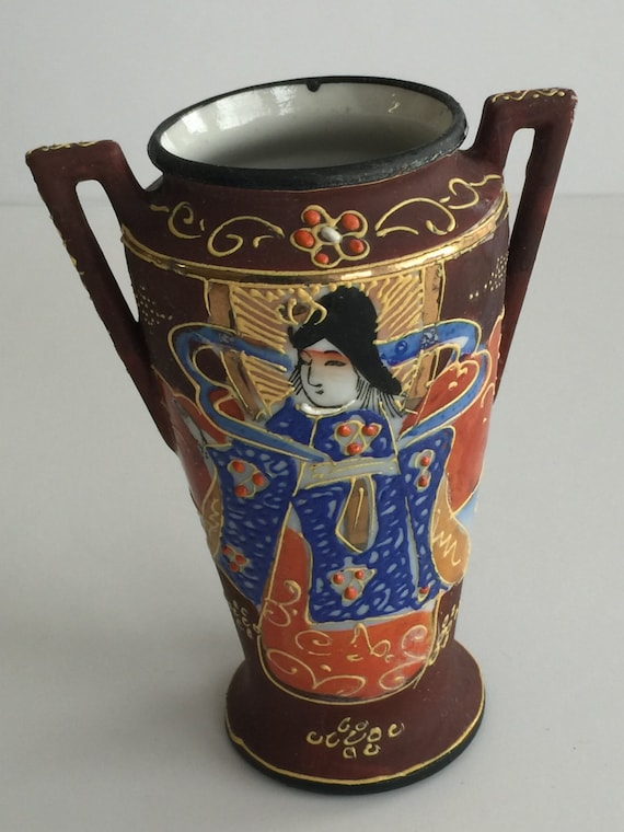Vintage Satsuma Hand Painted Japan Vase Adorable Antique Hand Etsy