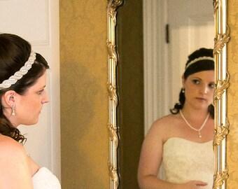 Jeweled Bridal Headband, Wedding Headband, Beaded Crystal Ribbon Headband, Rhinestone Rope Headband, Jeweled Wedding Headpiece, No. 5040HB