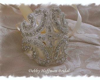 Beaded Rhinestone Crystal Bridal Cuff Bracelet , Rhinestone Bridal Bracelet, No. 1101CB, Wedding Jewelry, Crystal Wedding Bracelet, Cuff