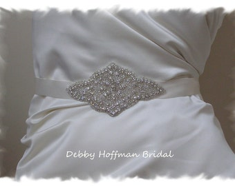 Crystal Beaded Bridal Belt, Rhinestone Crystal Bridal Sash, Jeweled Wedding Dress Sash, Belt, No. 2061HB, Wedding Accessories, Belts, Sashes