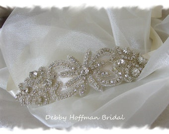Rhinestone Headband, Crystal Hair Piece, Crystal Beaded Rhinestone Bridal Ribbon Headband, Bridal Headpiece, Wedding Headband, No. 2041HB
