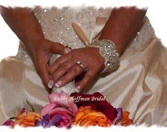Wedding Bracelet, Rhinestone Crystal Bridal Cuff Bracelet, Rhinestone Bracelet, Jeweled Cuff, No. 1196CB, Wedding Jewelry, Bridal Bracelet