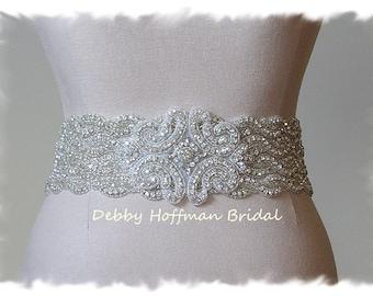 Rhinestone Crystal Bridal Belt, Beaded Wedding Dress Sash, Jeweled Wedding Belt, Wide Statement Bridal Sash Belt, No. 1126S4-18-3050