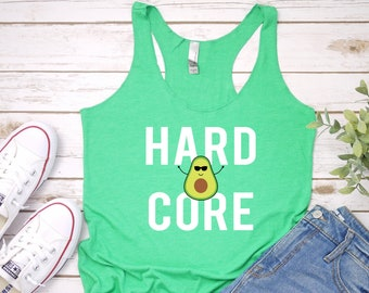 d5237bd01b50c Avocado Tank Top - Hard Core - Funny Guac Shirt - Avocadoholic Foodie  Summer Workout Tank Women s Tri-Blend Racerback Tank - Sizes up to 2X
