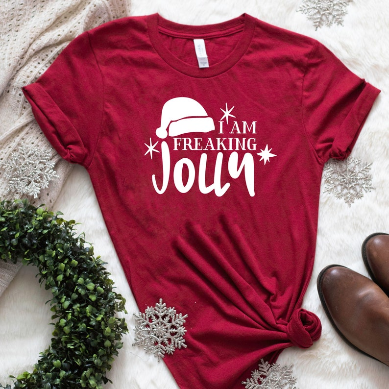 0bd0f1a87 Christmas T Shirt with Funny Saying I Am Freaking Jolly | Etsy