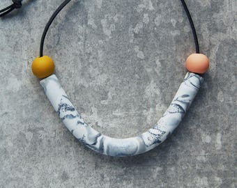 Contemporary Peach and Mustard Handmade Statement Arc Necklace