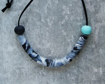 Contemporary Monochrome and Mint Handmade Statement Arc Necklace