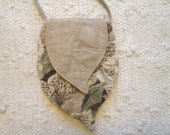 Elven Inspired Pixie Woodland Vegan Fabric Cross Body Cell Phone Bag with Leaf Flap
