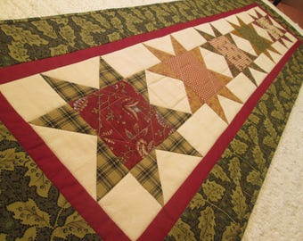Quilted Rustic Primitive Farmhouse Country Star Table Runner
