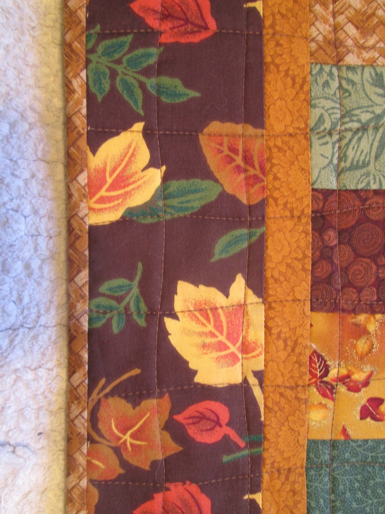 Quilted Table Runner Reversible Fall Autumn Leaves Thanksgiving