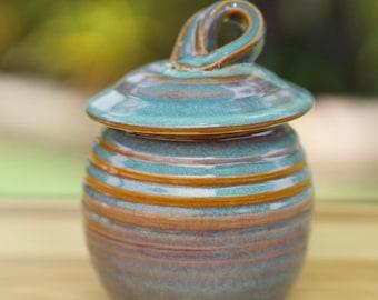 Pottery Sugar Bowl/Honey Jar in  Opal glaze
