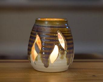 Votive Cut Candle Holder in Rainbow Brown  Glaze